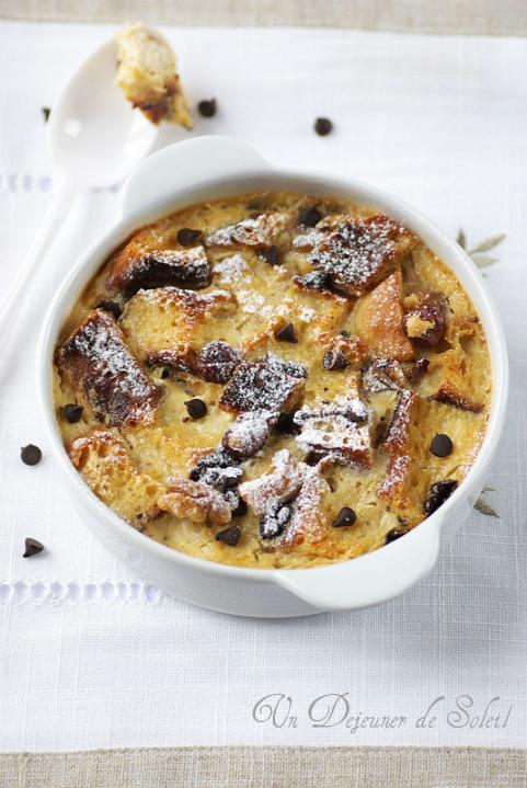 Bread pudding chocolat brioche noix