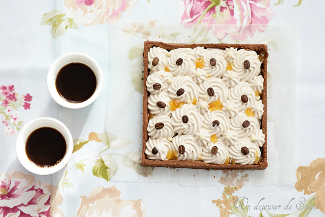 Tarte cafe chocolat blanc orange ganache montee recette