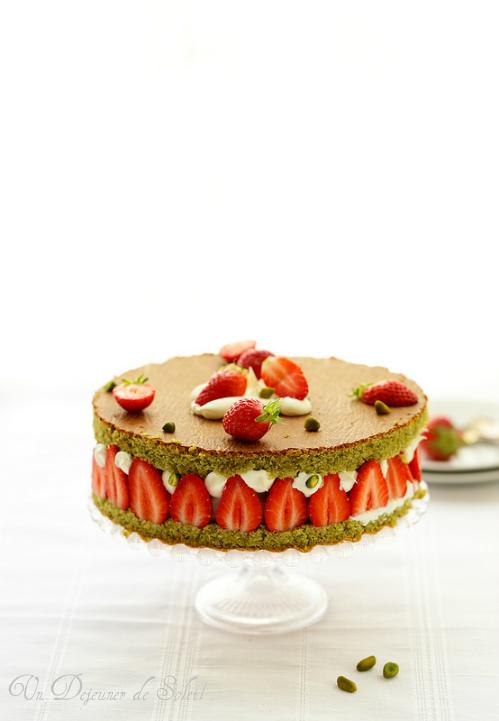 Fraisier gateau ricotta pistaches fraises sans gluten