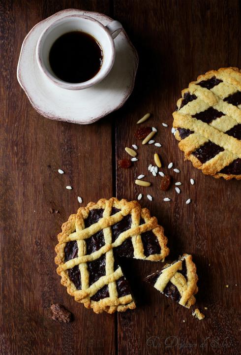 torta con i bscheri tarte riz chocolat pignons raisins Toscane