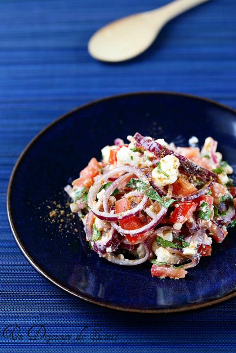 salade turque oignons feta tomates herbes épices