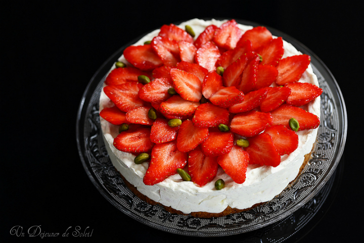 cheesecake mascarpone sans cuisson fraises pistaches