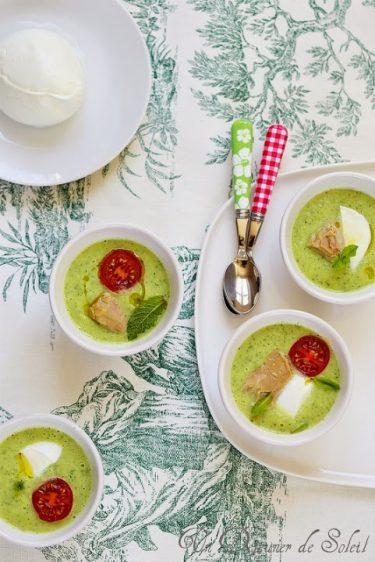 soupe froide de courgette thon et mozzarella