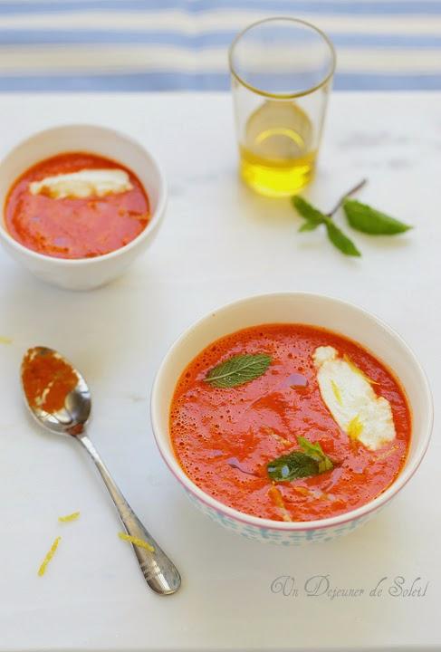Creme froide de poivrons tomates ricotta et agrumes