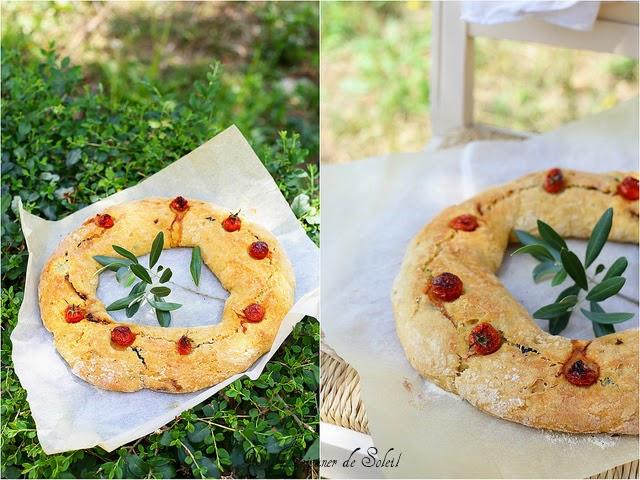 Couronne de pain semoule anchois et olives