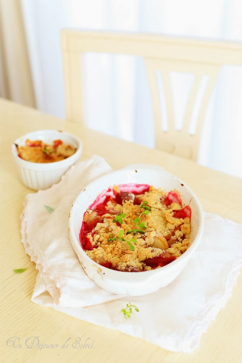 Crumble peches prune et epeautre