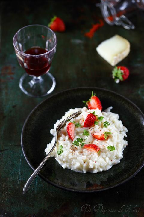 Risotto crémeux Ossau_iraty, fraises et piment d'Espelette