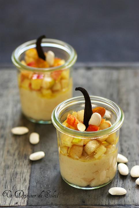 Dessert à la crème de haricots Tarbais, pommes et poires