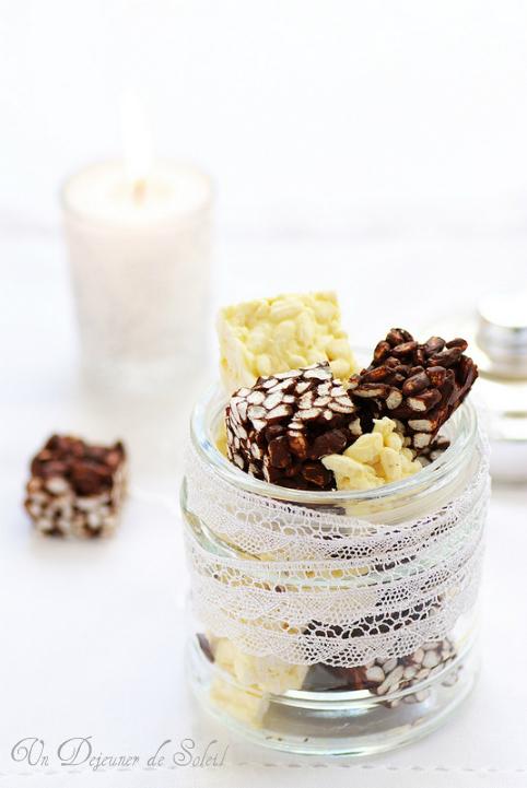 Carrés au riz soufflé chocolat noir ou chocolat blanc (2 recettes)