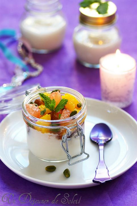 Salade légère d'agrumes et blanc-manger à la fleur d'oranger
