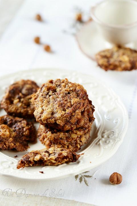 Biscuits aux flocons d'avoine chocolat noisettes - Un déjeuner de soleil