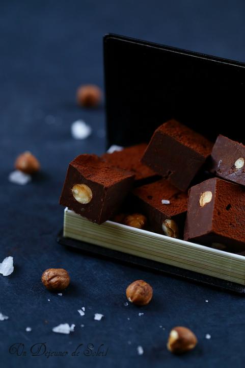 Fudges chocolat noisettes et fleur de sel (sans gluten)