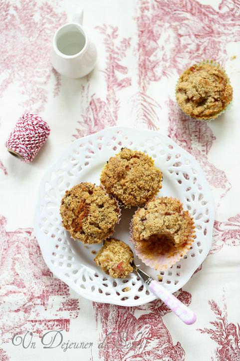 Cakes crumble rhubarbe sarrasin (sans gluten) - Rhubarb crumble cakes