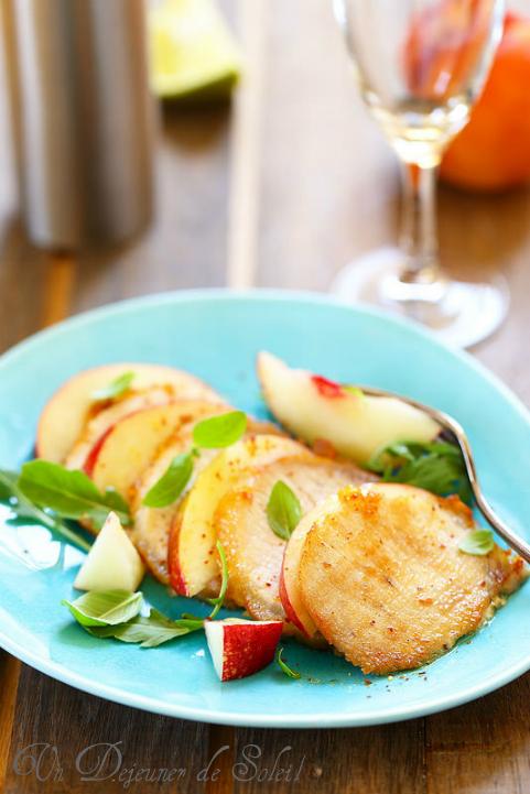Rôti de porc aux pêches, frais et facile - Roasted pork with peach salad