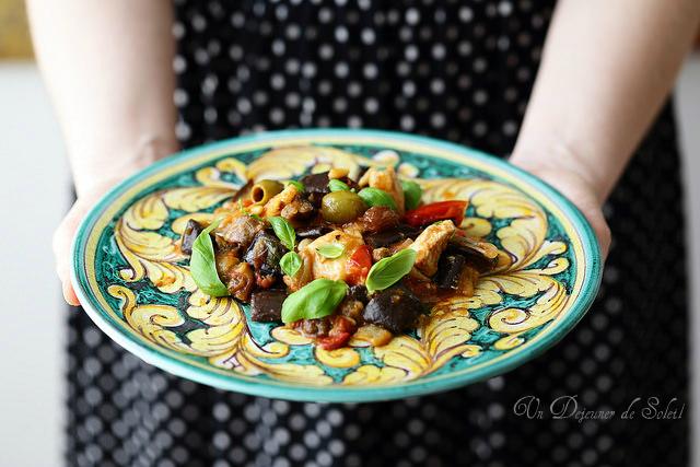 Salade de poulet en caponata d'aubergines - Sicilian caponata with chicken