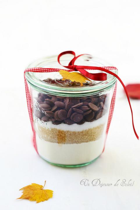 Kit ou bocal à cookies au chocolat à offrir comme cadeau gourmand