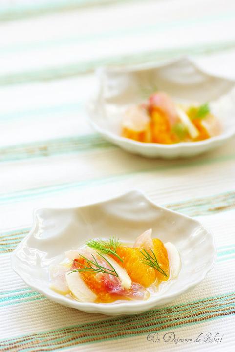 Carpaccio de poisson (bar) orange et fenouil