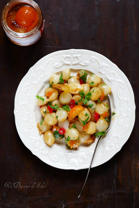 Oignons grelots confits avec mascarpone et mostarda