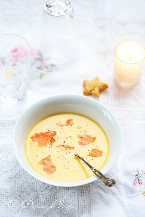 Soupe courge butternut, coco et saumon