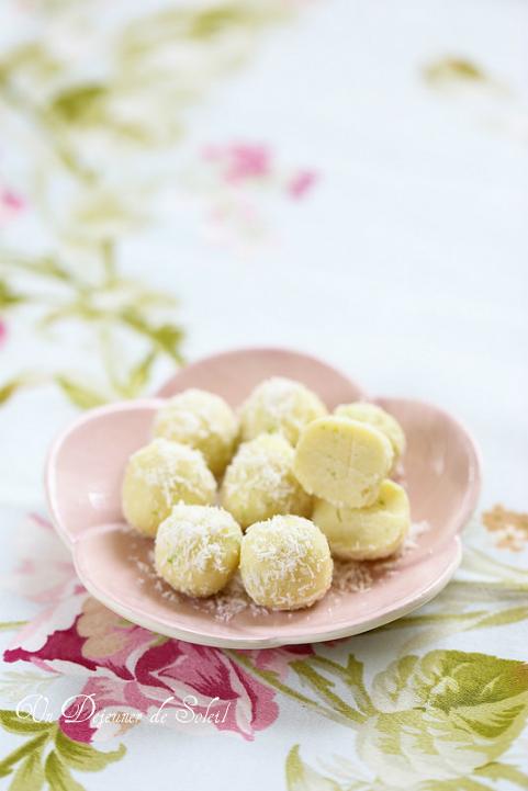 Truffes chocolat blanc coco et citron vert