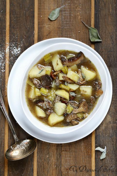 Soupe toscane de pomme de terre, poireaux et champignons sauvages (cèpes...)