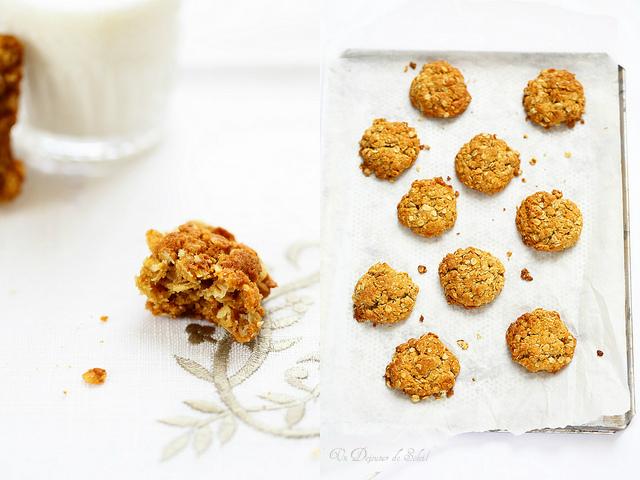 Biscuits flocons d'avoine et miel presque comme des Anzac Biscuits