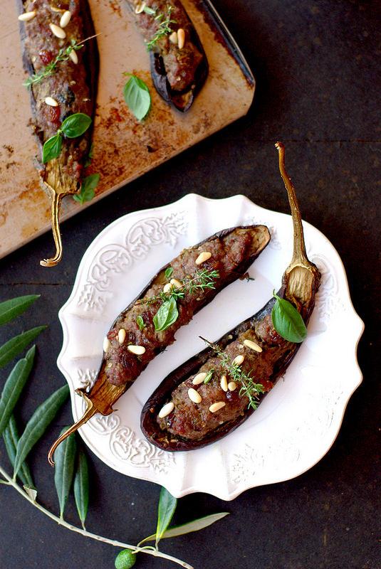 Aubergines farcies de viande à l'italienne