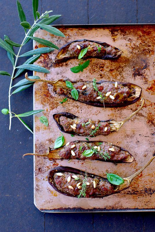 Aubergines farcies de viande à l'italienne (sans gluten)