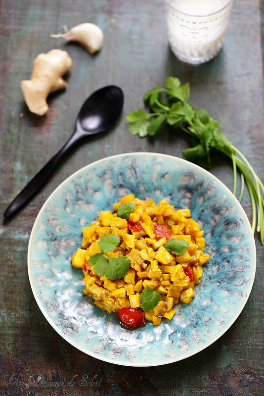 Caviar de courgettes jaunes au curcuma à l'indienne