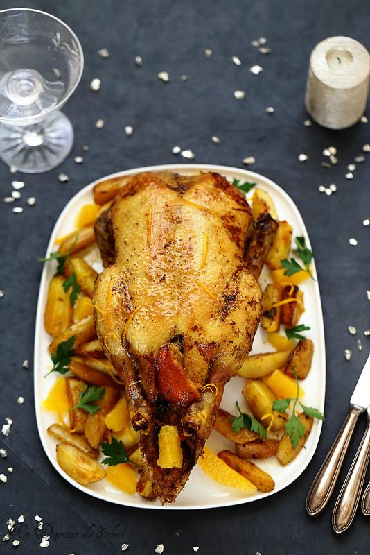 Cannette ou canard à l'orange et pommes de terre rôties