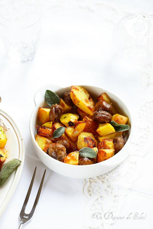Dinde ou poulet farci aux marrons et aux pommes