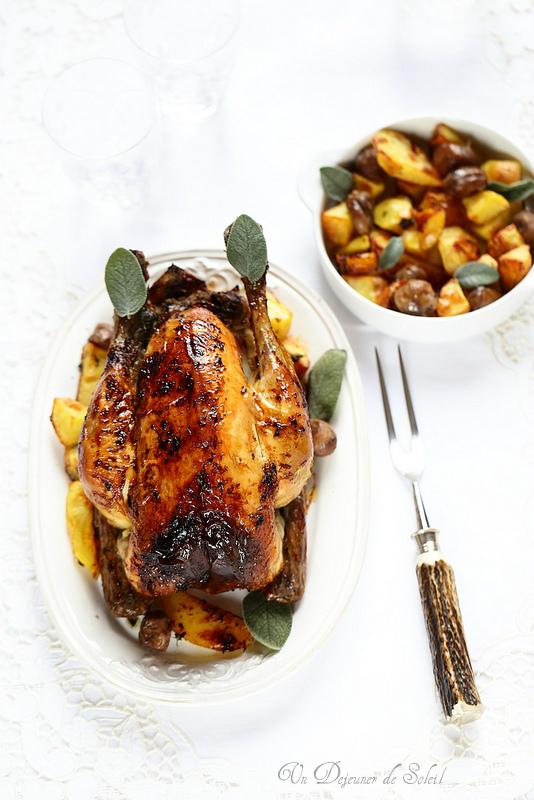 Dinde ou poulet farcis aux marrons et aux pommes (recette et astuces)