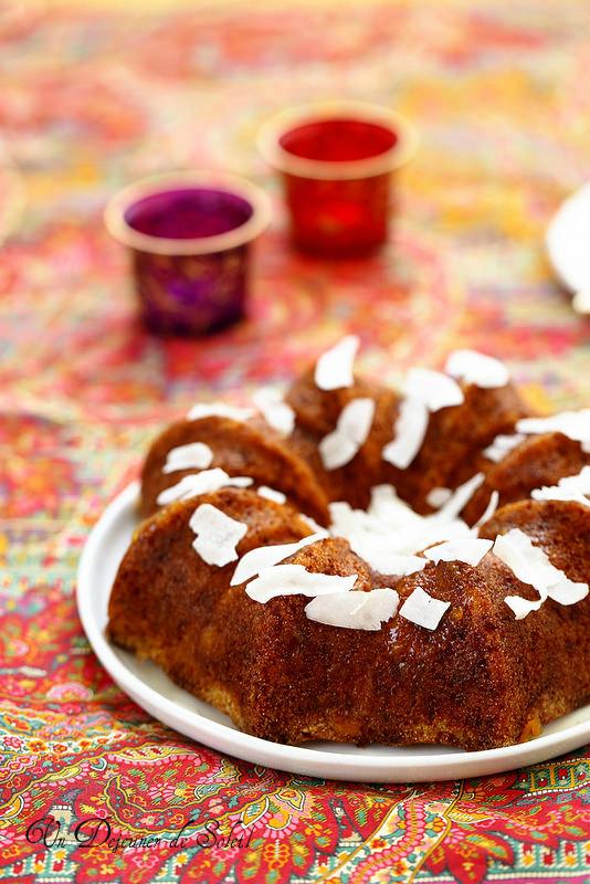 Cake ou gâteau à la semoule, marmelade d'orange et coco