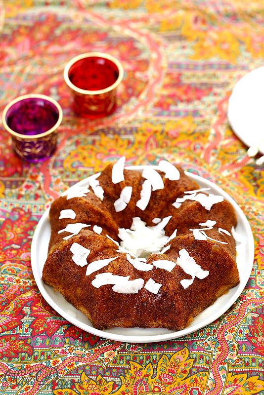 Cake à la semoule, marmelade d'orange et coco