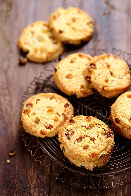 Biscuits sablés rhum raisins