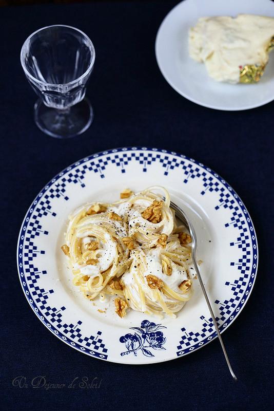 Pâtes (linguine) aux trois fromages comme en Italie