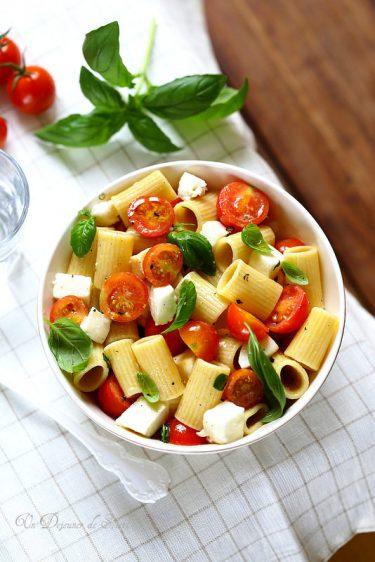 salade pates tomates mozzarella checca