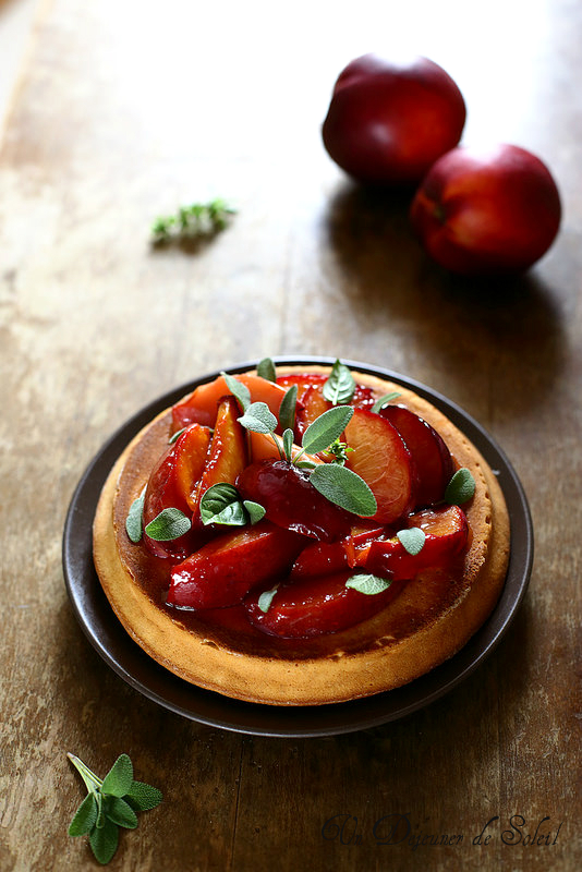 Gâteau italien à la ricotta et pêches rôties