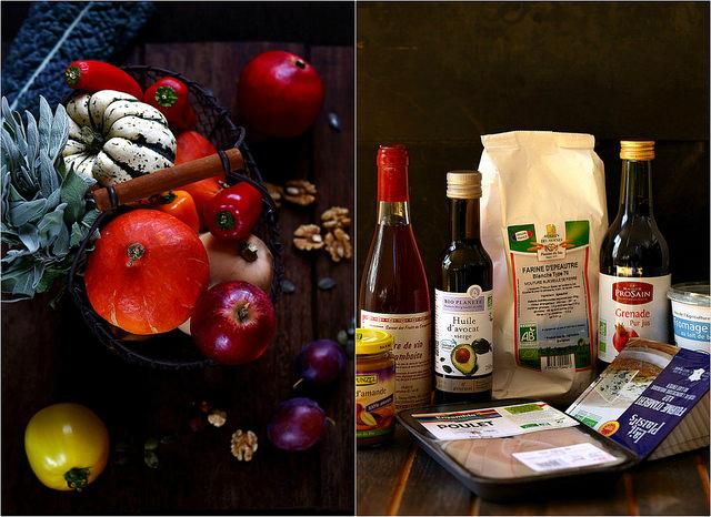 Panier d'automne et produits Biocoop