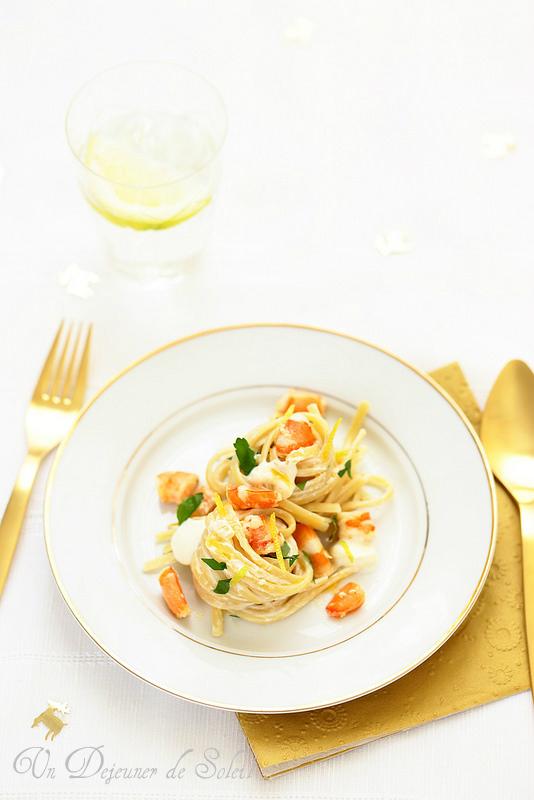 Linguine aux crevettes et au mascarpone