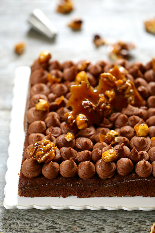 Gâteau chocolat caramel (sans gluten) (brownie ganache montée chocolat)