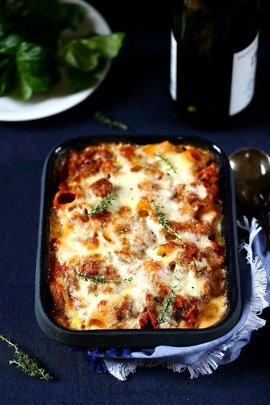 Gratin de pâtes saucisses et champignons façon lasagne