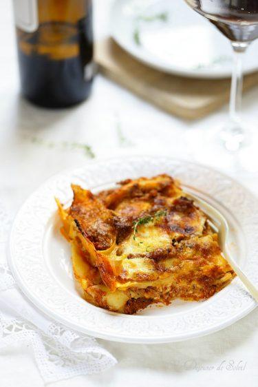 lasagnes vincisgrassi typiques Marches au poulet canard