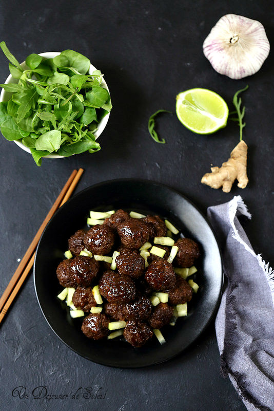 Boulettes de viande, sauce à l'asiatique