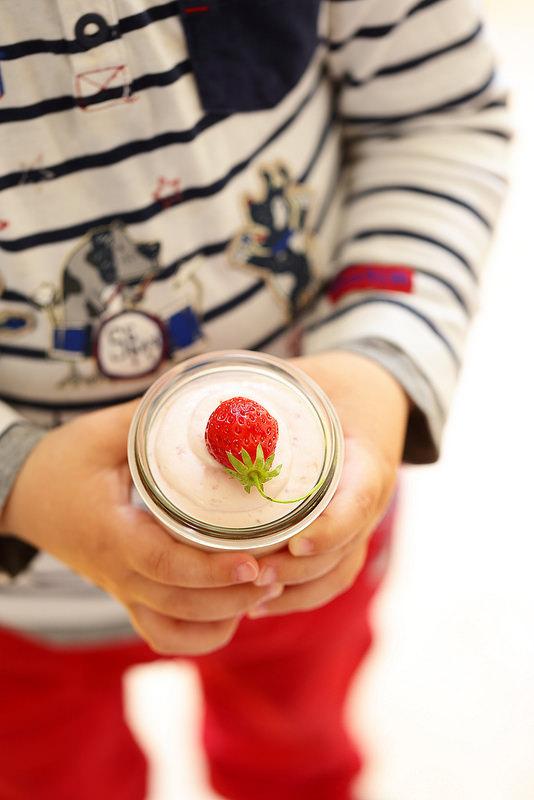 Mousse aux fraises, mascarpone et yaourt