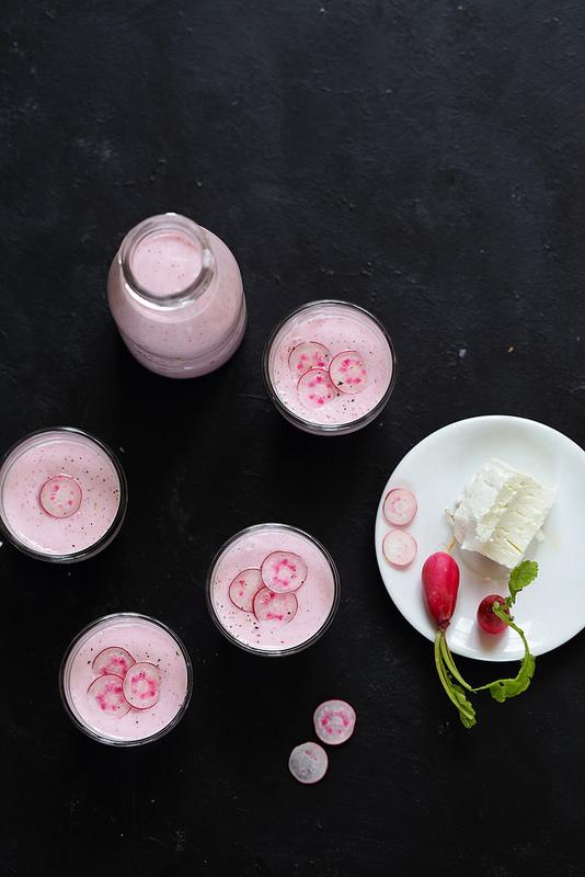 Soupe de radis rose et chèvre