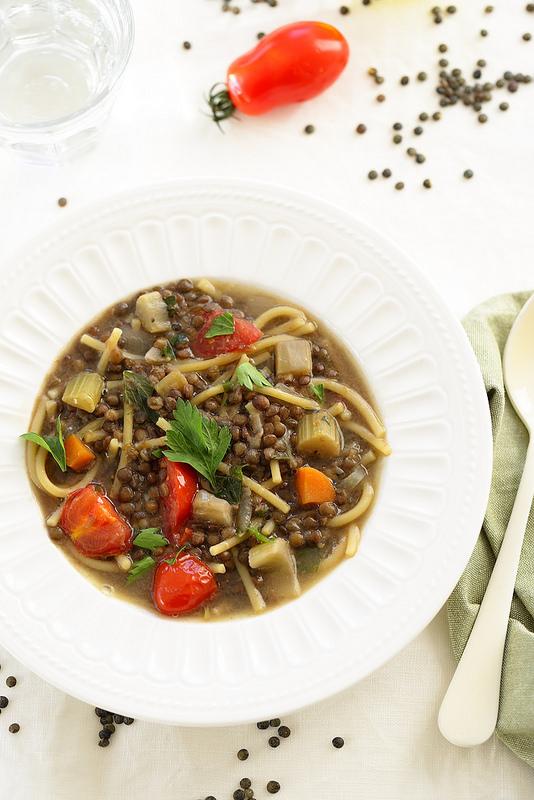 Soupe de lentilles et pâtes à l'italienne
