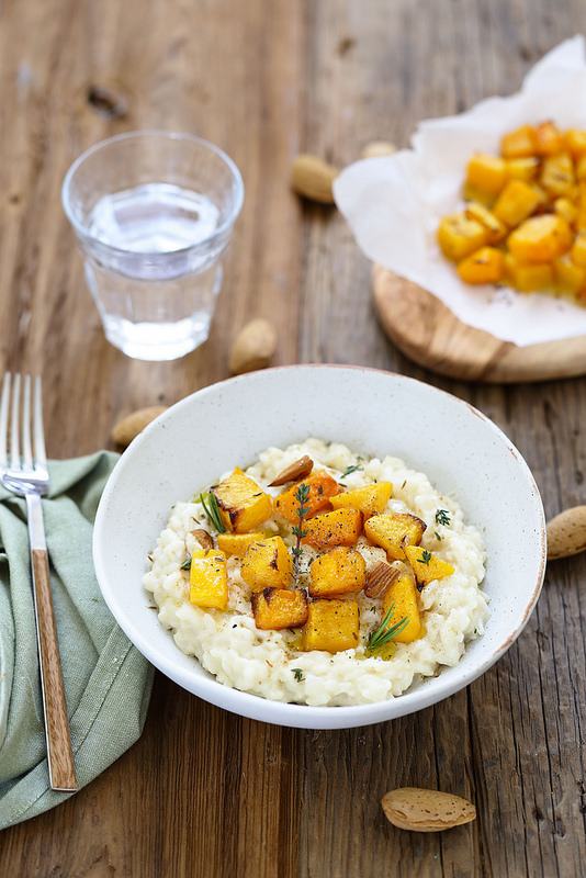Risotto amandes, courge rôtie