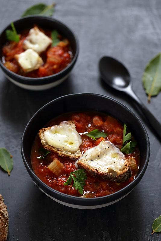 Soupe tomates crostini fromage toscane