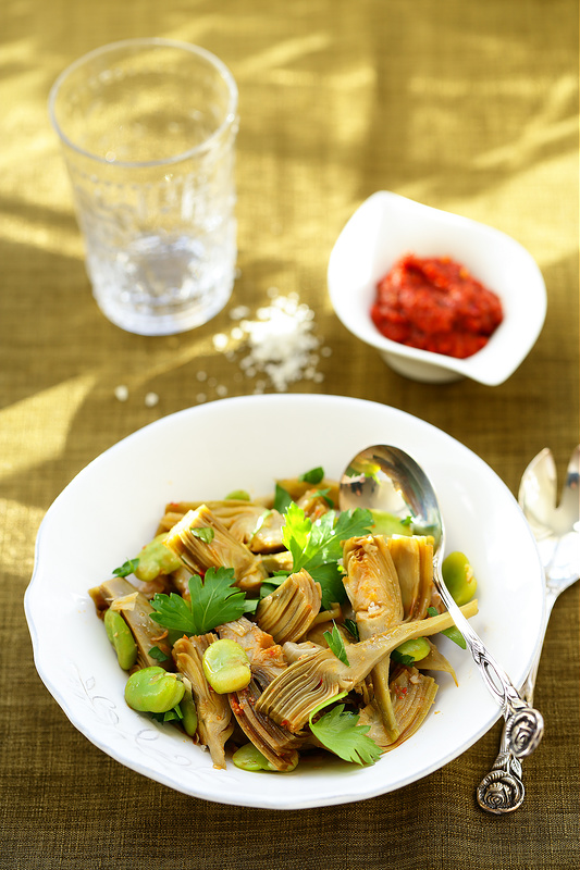 Salade artichauts et fèves, facile et delicieuse